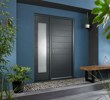 Oslo Ultimate External Grey Front Door With Outer Frame And Single