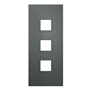 Malmo Ultimate External Grey Front Door with Outer Frame and Single Sidelight 1430mm W x 2079mm H
