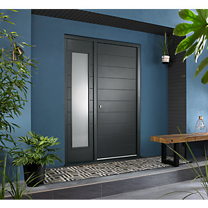 Oslo Ultimate External Grey Front Door with Outer Frame and Single Sidelight 1583mm W x 2079mm H