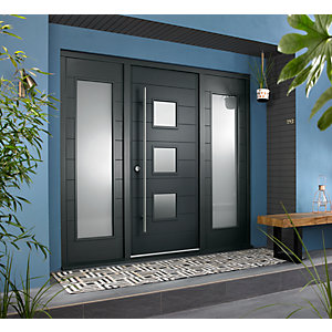 Malmo Ultimate External Grey Front Door with Outer Frame and Double Sidelights 1932mm W x 2079mm H