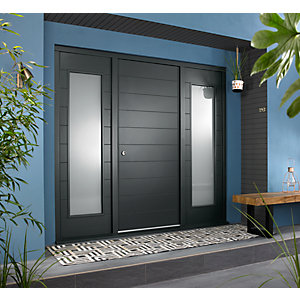Oslo Ultimate External Grey Front Door with Outer Frame and Double Sidelights 2238mm W x 2079mm H