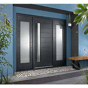Stockholm Ultimate External Grey Front Door with Outer Frame and Double Sidelights 2238mm W x 2079mm H