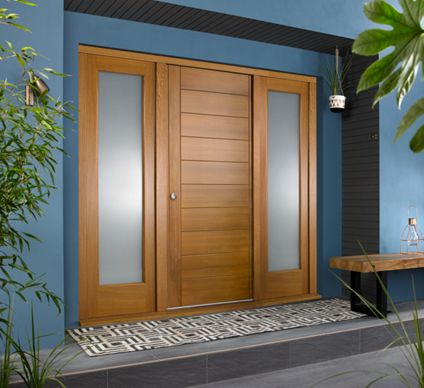 Oslo Ultimate External Oak Front Door With Outer Frame And Double Sidelights 1932mm W X 2079mm H