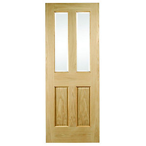 Interior Oak Malton Glazed Satin Hinge, Handle & Latch Door Bundle""