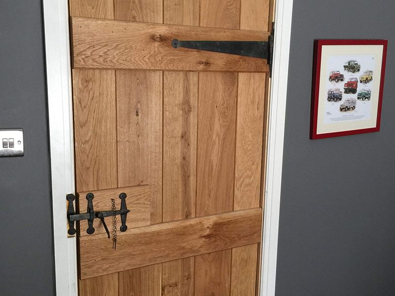 Heritage Custom Size V Grooved Select Rustic Oak Ledged Door