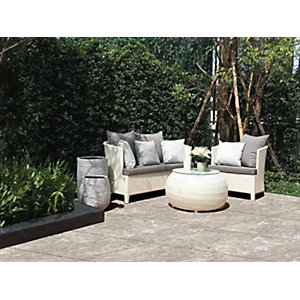 Romana Travertine Silver Outdoor Porcelain Tile 600x600x20mm Pack of 2