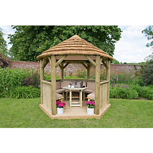 3m Hexagonal Wooden Garden Gazebo with Thatched Roof - Furnished (Cream)