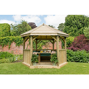 3.6m Hexagonal Wooden Garden Gazebo with Timber Roof - Furnished (Green)