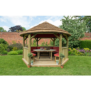4m Hexagonal Wooden Garden Gazebo with Thatched Roof - Furnished (Terracotta)