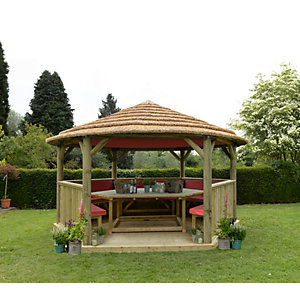4.7m Hexagonal Wooden Garden Gazebo with Thatched Roof - Furnished (Terracotta)