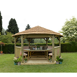 4.7m Hexagonal Wooden Garden Gazebo with Thatched Roof - Furnished (Cream)