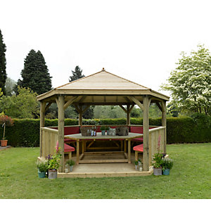 4.7m Hexagonal Wooden Garden Gazebo with Timber Roof - Furnished (Terracotta)