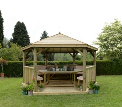 4 7m Hexagonal Wooden Garden Gazebo with Timber Roof - Furnished (Cream)