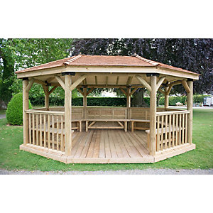 5.1m Premium Oval Wooden Gazebo with Cedar Roof and Benches