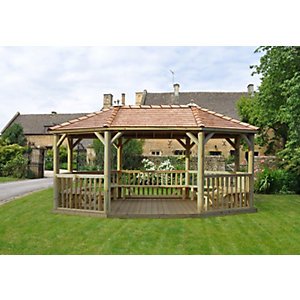6m Premium Oval Wooden Gazebo with Cedar Roof and Benches