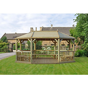 6m Premium Oval Wooden Gazebo with Timber Roof and Benches