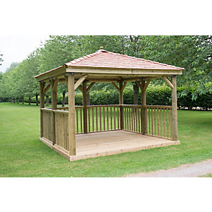 3.5m Square Wooden Gazebo with Cedar Roof