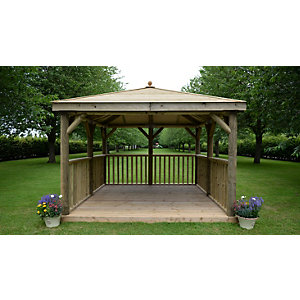 3.5m Square Wooden Gazebo with Timber Roof
