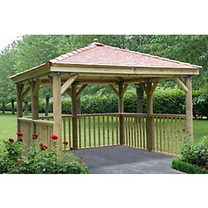3.5m Square Wooden Gazebo with Cedar Roof - No Base