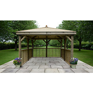 3.5m Square Wooden Gazebo with Timber Roof - No Base