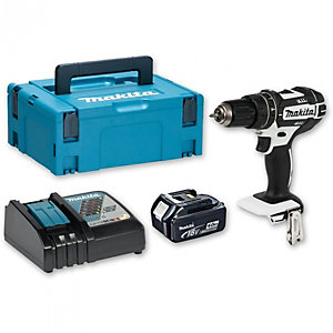 Makita 18 V Lxt White Combi Drill DHP482M1JW - Includes Battery & Charger