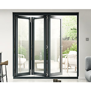 Travis Perkins 54mm Grey External Sliding Folding 2100mm Door Set