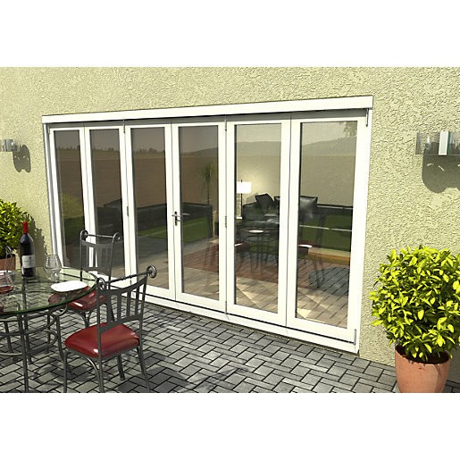 Travis Perkins 54mm White External Sliding Folding Door 4200mm 3+3 Opening