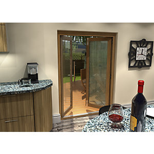 54mm Ptq Solid Oak Unfinished French Door Set