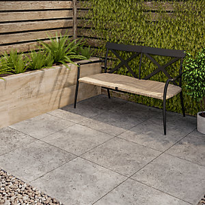 Romana Travertine Outdoor Porcelain Tile Silver 450x900x20mm Pack of 2