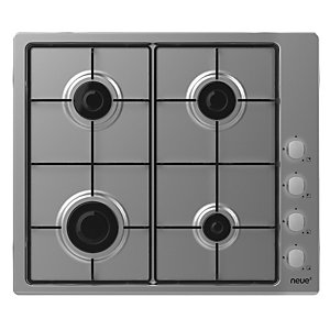 Neue 60cm Gas Hob with Enamel Pan Supports & Side Rotary Control Stainless Steel NHW6LX