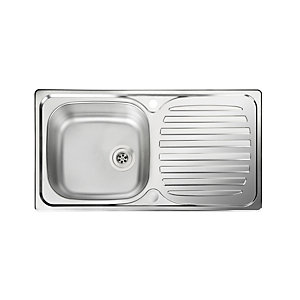 Rangemaster Euroline Compact 860 x 435mm Single Bowl Reversible Stainless Steel Inset Sink with Drainer & Waste Kit EU860/-BMX