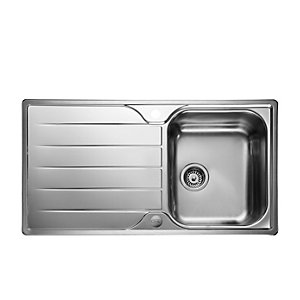 Rangemaster Leisure Albion 950 x 508mm Single Bowl Reversible Stainless Steel Inset Sink with Drainer & Waste Kit AL9501/-BMX