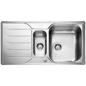 Rangemaster Leisure Albion 950 x 508mm 1.5 Bowl Reversible Stainless Steel Inset Sink with Drainer & Waste Kit AL9502/-BMX