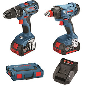 """Bosch Gsb 18V-28 Combi +gdx 18V-180 Impact Driver/Wrench+(2 x 2.0AH Batteries, Charger and L-boxx)"""""""