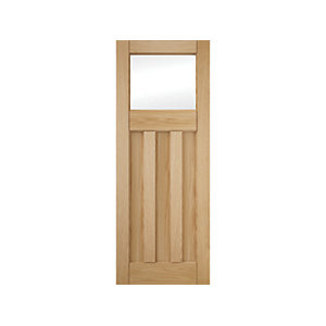 3 Panel Clear Glazed White Oak Interior Door