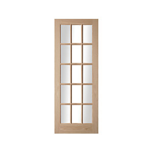 Oregon 15 Light Clear Glazed American White Oak Interior Door