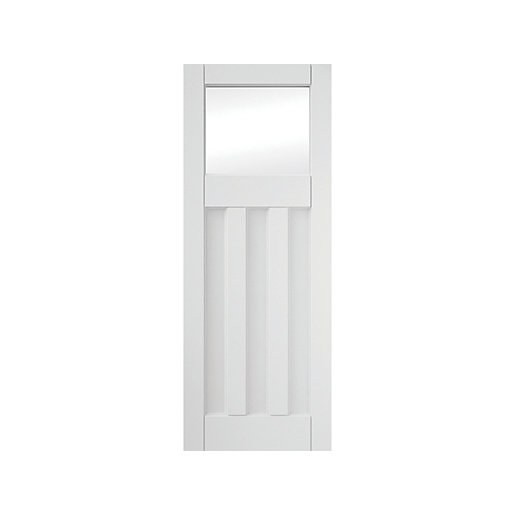 3 Panel Clear Glazed Primed Interior Door 1981x762mm