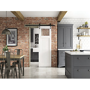 Glazed Primed Cottage Clear Glazed Industrial Sliding Barn Door 862mm