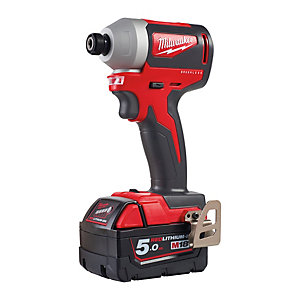Milwaukee M18 Brushless Impact Driver Complete with Two 5.0AH Redlithium-ion Batteries