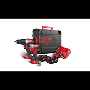 Milwaukee M18 Brushless Percussion Drill and Impact Driver Twin Pack Complete with Two 5.0AH Lithium-ion Batteries and Dynacase