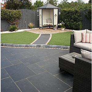 Natural Paving Black Limestone Charcoal Project - Pack of 18.9m2