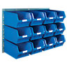 Topstore Modular Pre-kitted Louvre Panels complete with 12 no. Topstore TC5 Blue Containers - 641H x 914mm W