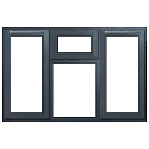 Euramax Grey Upvc Casement Window 4P Top, Left and Right Side Hung 1770 x 1190mm
