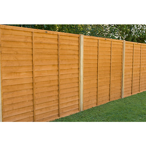 6ft x 5ft 1.83m x 1.52m Dip Treated Overlap Fence Panel - Pack of 3
