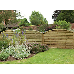 1.8m x 1.1m Pressure Treated Decorative Europa Domed Fence Panel Pack