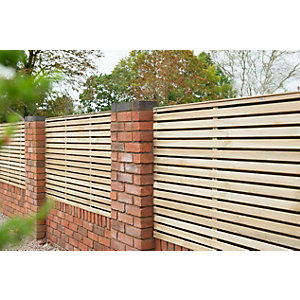 Pressure Treated Contemporary Double Slatted Fence Panel 1.8m x 0.91m - Pack of 5