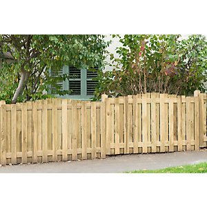 Pressure Treated Decorative Hit and Miss Domed Top Fence Panel 6ft x 3.5ft (1.83m x 1.1m) - Pack of 5