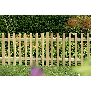 Pressure Treated Ultima Pale Picket Fence Panel 6ft x 3ft (1.83m x 0.9m) - Pack of 5