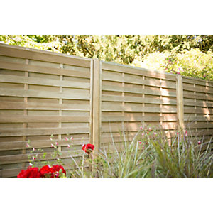 Pressure Treated Decorative Horizontal Hit and Miss Fence Panel 1.8m x 1.8m - Pack of 5