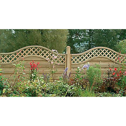 Pressure Treated Decorative Europa Prague Fence Panel 1.8m x 1.5m - Pack of 5